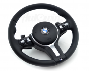 BMW 3 SERIES F30/F31/F34GT M/// STEERING WHEEL WITH AIRBAG, STEPTRONIC SHIFTERS, NAPPA LEATHER ORIGINAL
