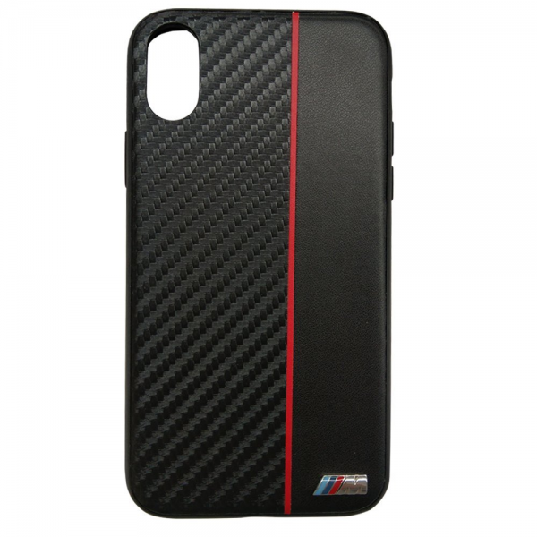 BMW M Collection iPhone X Bi-Material Case Carbon/PU Black-Red