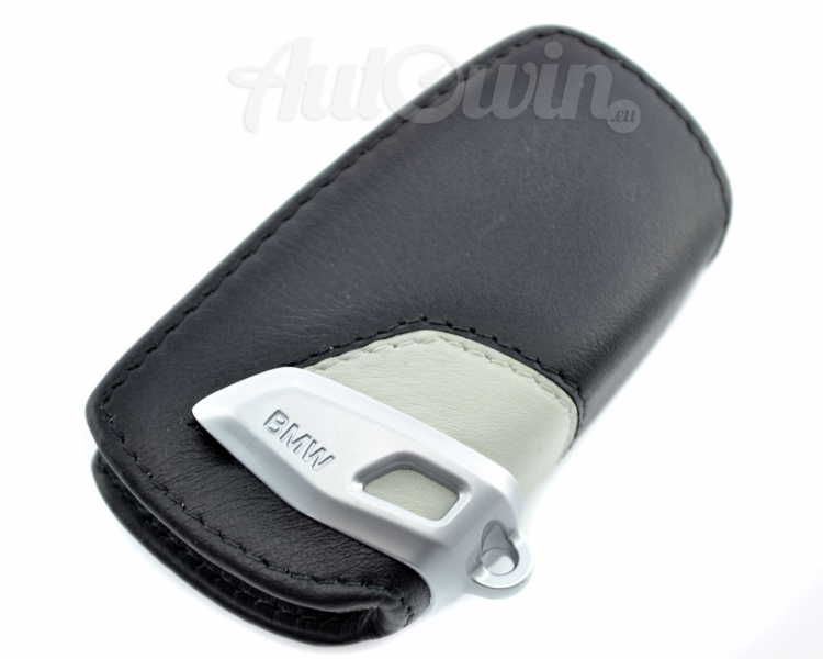 BMW Genuine Leather Key Case Fob Sport Black & Grey kopija