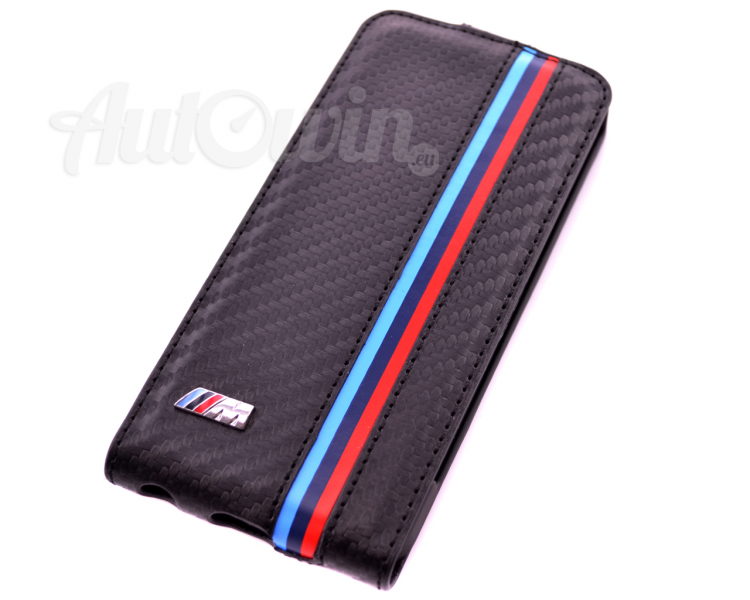 BMW M COLLECTION BLACK CARBON EFFECT FLAP CASE / IPHONE 5