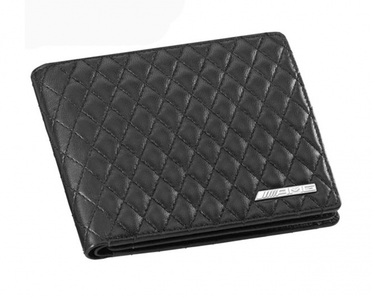 Amg leather wallet with black quilted diamond structure for Mercedes benz wallet